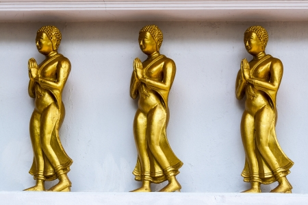 Buddhist sculptures of mystical creature in the interior of a Buddhist temple in Thailand