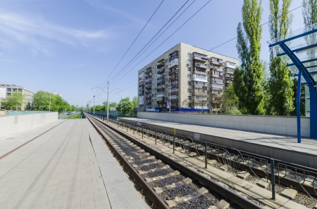 Separate tramway station and the platform route number 1 Kiev Light Rail