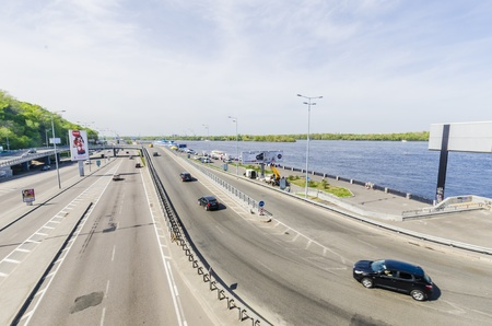 Naberezhne highway in Kiev Editorial
