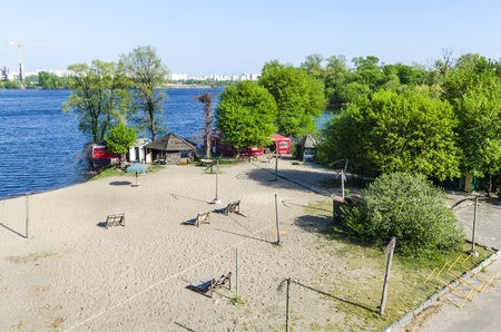A small cafe on the beach on the island Trukhaniv on the banks of the Dnieper  Kiev