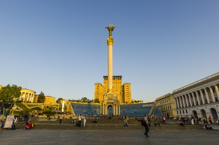 Kiev, Maidan Nezalezhnosti  Independence Square  in the evening light