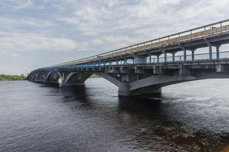Large metro bridge across the Dnieper River in Kiev Stock Photo