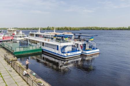 Pleasure boats on the river Dnieper in Kiev