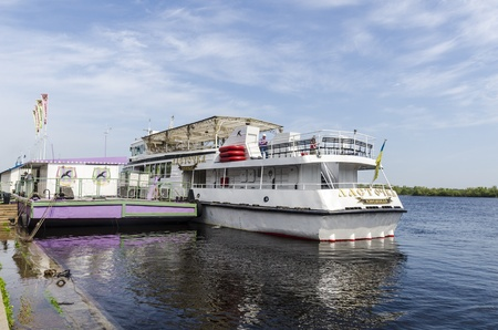 the dnieper: Pleasure boats on the river Dnieper in Kiev