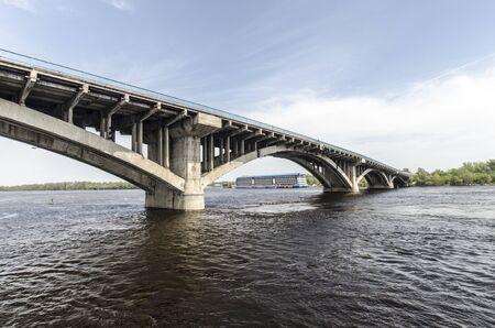 Large metro bridge across the Dnieper River in Kiev Editorial