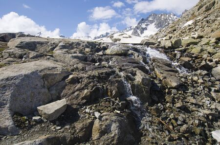 glaciers: Melting glaciers at the top of the Alps