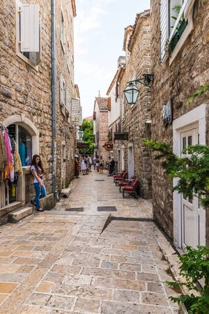 Streets and houses in the old Budva. Montenegro