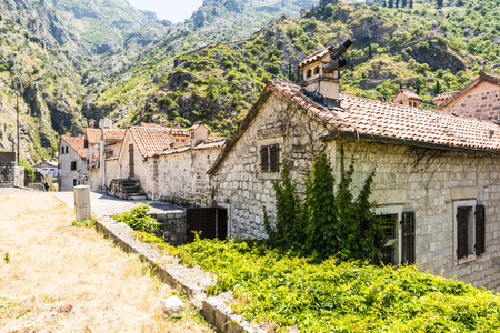 View of old houses and streets of the city of Kotor in Montenegro