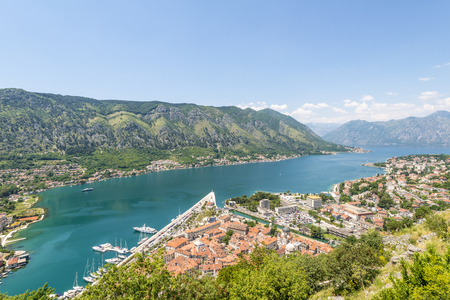 View of the old town of Kotor on. Red tiled roofs and bay south fjord Stock Photo