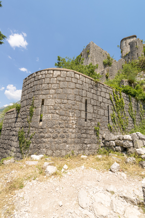 Ancient castle in the Balkan Mountains in the town of Kotor Montenegro Stock Photo