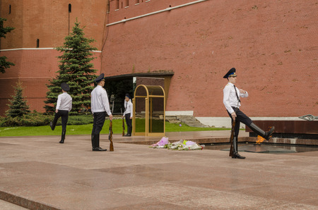 Changing of the guard at the Kremlin Wall Moscow Editorial