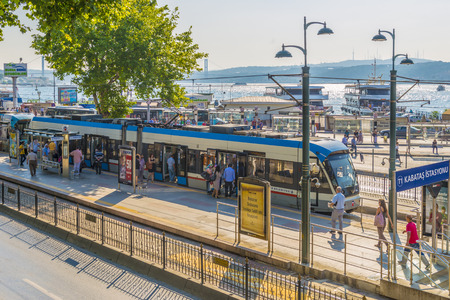 A tram stop in Istanbul