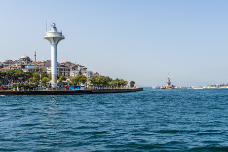 modern lighthouse on the shores of the Bosphorus in Istanbul