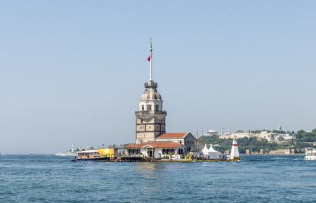 famous Maiden Tower in the Bosphorus on the Asian side of Istanbul Editorial
