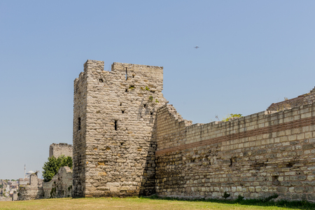 Ruins of ancient fortress wall of the Emperor Theodosius in the center of Istanbul. Turkey