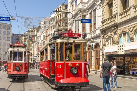 Historic tourist retro tram in Istanbul. Editorial