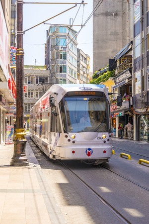 Modern tram on the streets of Istanbul