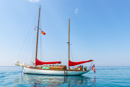 Luxury yacht in the Mediterranean in the parking lot Stock Photo