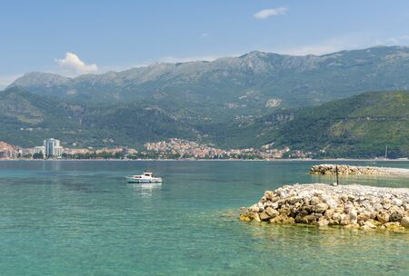 Pebble beach in Budva. Montenegro. Adriatic Sea Stock Photo