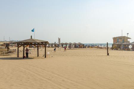 sandy beaches: The sandy beaches of the Mediterranean Sea in Tel Aviv Stock Photo