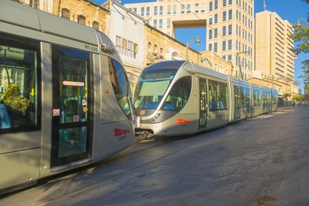 Modern tram in Jerusalem