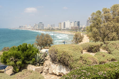 Jaffa Gardens, the Mediterranean Sea and the coastline of Tel Aviv, Israel Stock Photo