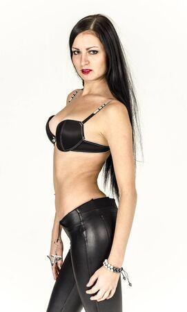 jeune fille adolescente nue: Belle fille se déshabillant en jeans et soutien-gorge belle lingerie Banque d'images