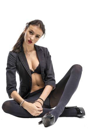 jeune fille adolescente nue: Beautiful girl undressing in jeans and bra beautiful lingerie