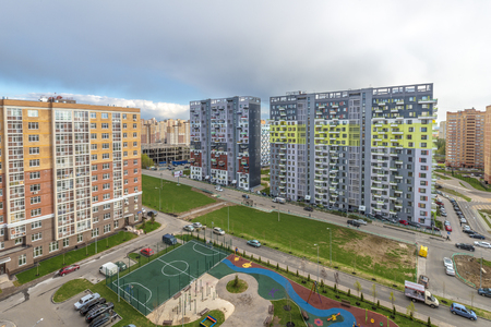 Modern residential high-rise buildings in new districts of Moscow