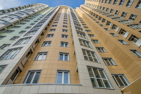 New modern multi-storey residential buildings in Moscow in winter