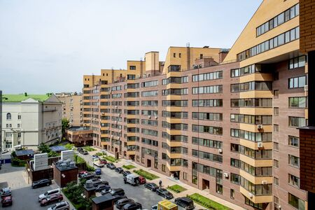 New residential areas in Moscow. Houses and parks Stok Fotoğraf
