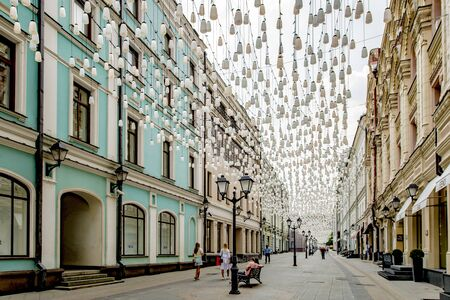 Fairs and decorations in the tourist center of Moscow summer festival
