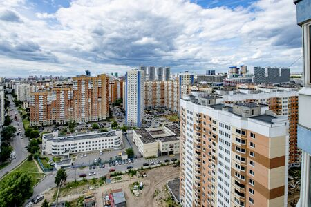 view of a new residential area on the outskirts of modern Moscow