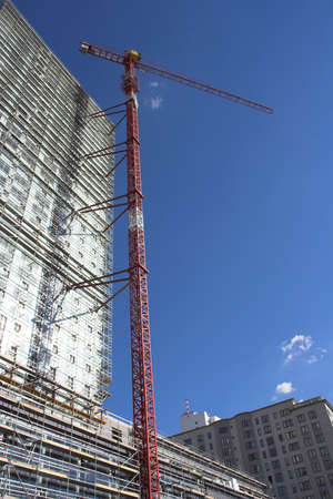 worksite: Crane at construction site.