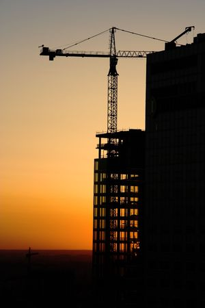 Sunset at construction Site. Stock Photo