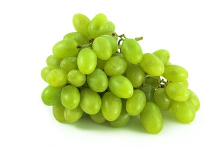 Green grapes on white background.