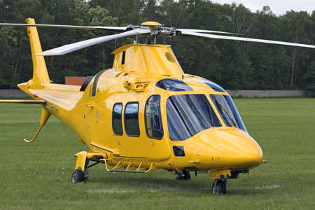Rescue helicopter at airport. Stock Photo