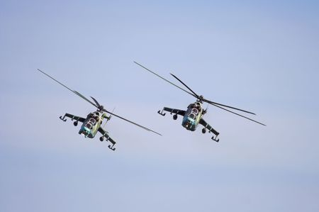 Mi-24D gunships. Stock Photo