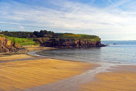 Sandy beach in Dunmore East, Ireland.