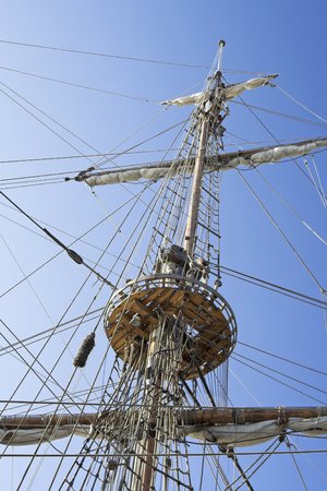 bowsprit: Mast and foretop of the sailing ship. Stock Photo