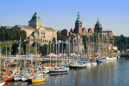View of the sailing ships docked at Szczecin waterfront.