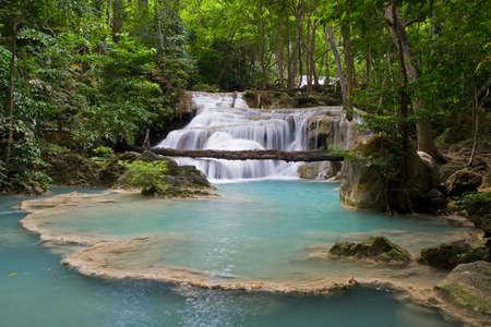 Waterfall in National Erawan Park, Kanchanaburi Province, Thailand. Stock Photo