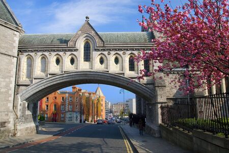 Dublin cityscape, part of the Christ Church Cathedral on the first plan. Stock Photo