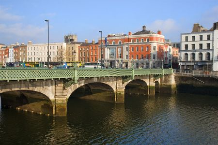 liffey: Grattan bridge over the river Liffey in Dublin, Ireland.