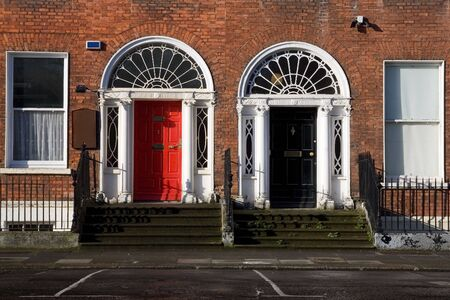 Georgian style doors in Dublin, Ireland. photo