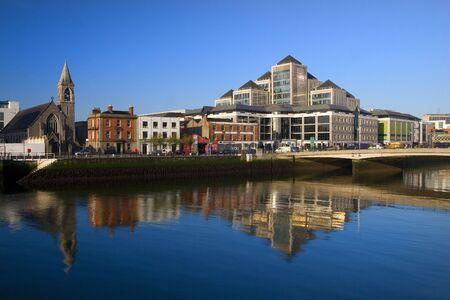 liffey: Dawn in Dublin downtown, Ireland.