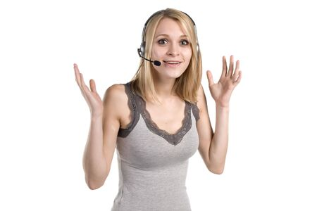 apparently: Pretty young woman gesticulates while talking on the phone, apparently excited about something.