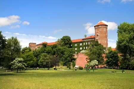 casimir: The Wawel Royal Castle in Cracow in Poland built in 14th at the behest of Casimir III the Great, rebuilt by Jogaila and Jadwiga of Poland. Stock Photo