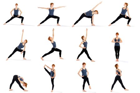 Young attractive female fitness model in various standing yoga poses isolated on white background.
