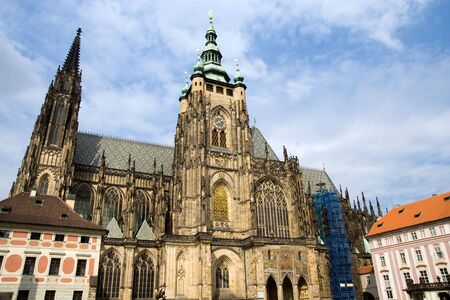 czech culture: A Gothic masterpiece of St. Vitus Cathedral located within the Prague Castle complex, Prague, Czech Republic.